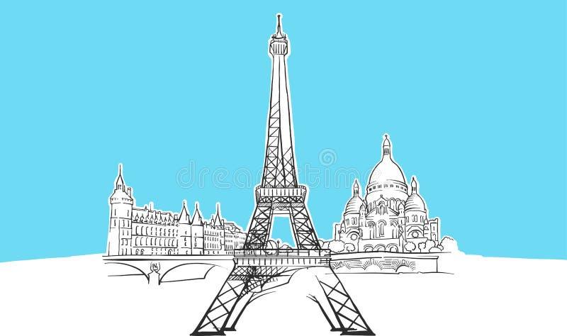 Paris France Lineart Vector Sketch royalty illustrazione gratis