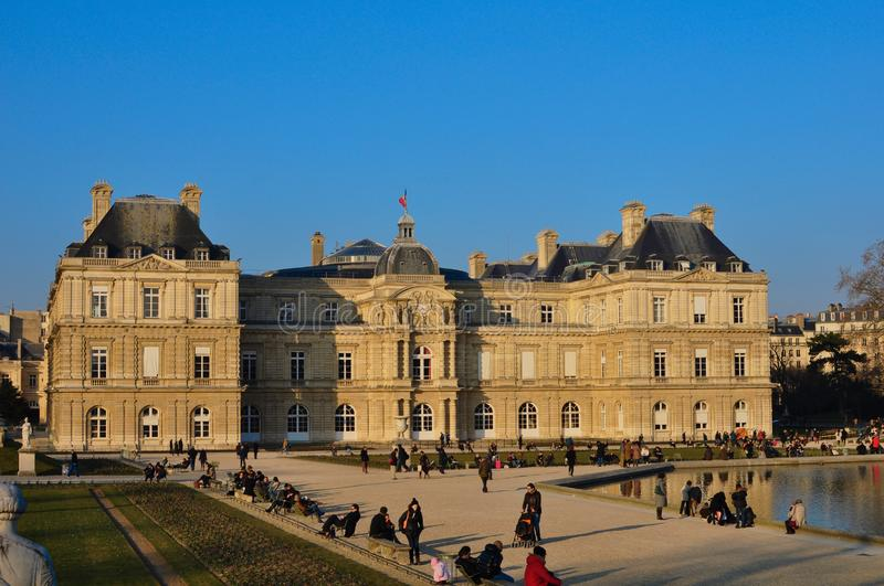 Paris, France - 02/08/2015: Luxembourg gardens royalty free stock photo