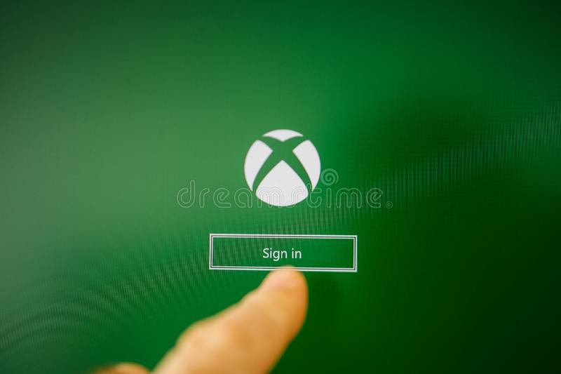 XBox video gaming brand sign in button stock photo