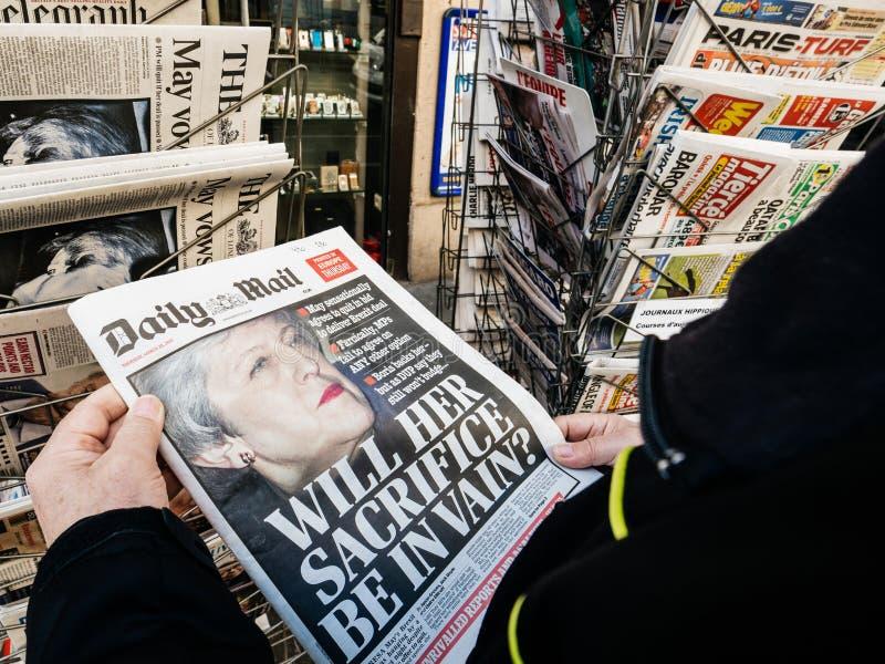 Senior man buying press newspaper kiosk press brexit stock photography