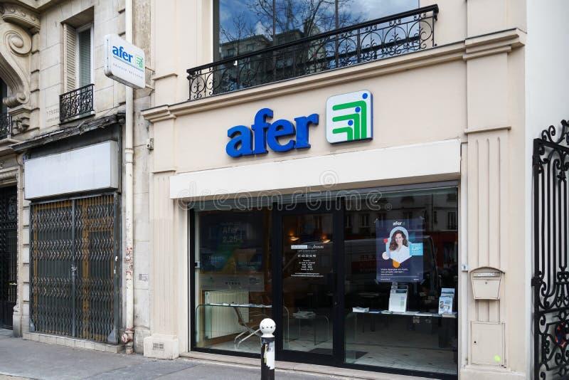 Afer association of savers. Paris, France - March 18, 2019: Afer association of savers in France French: Association Francaise d`Epargne et de Retraite stock photography