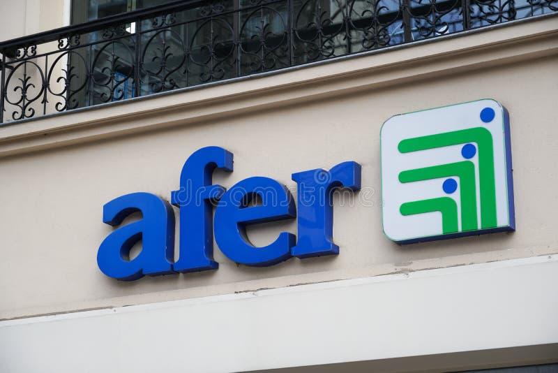 Afer association of savers. Paris, France - March 18, 2019: Afer association of savers in France French: Association Francaise d`Epargne et de Retraite royalty free stock image
