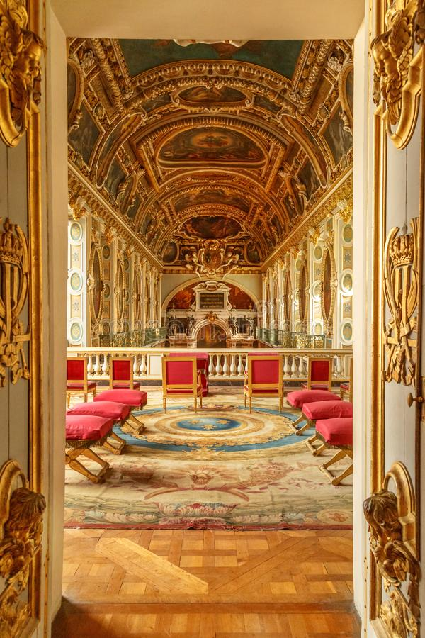 Paris, France, March 31, 2017: Chapel of the Trinity in Chateau Fontainebleau which used to be a royal chateau in France stock images