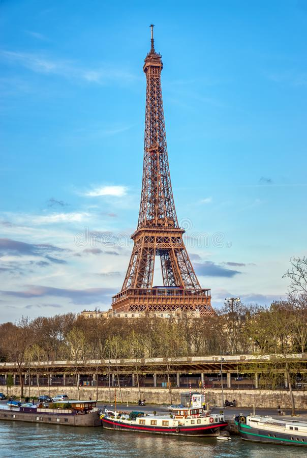 Eiffel tower and Seine river - Paris, France stock images