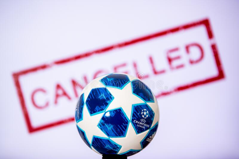 Football Champions League Ball Blue Background White Edit Space Editorial Photo Image Of Broadcast Isolated 170335546