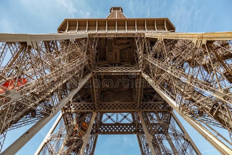 Paris, France, March 30, 2017: Inside the Eiffel Tower in Paris, France. View to the inside of Eiffel Tower. Big royalty free stock photo