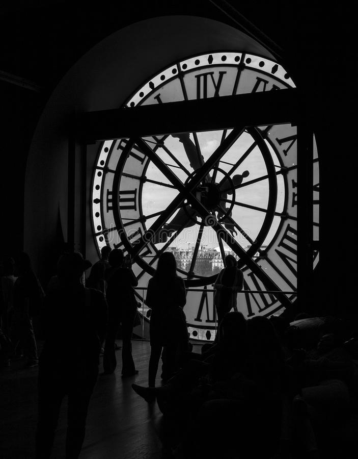 Paris, France, March 28 2017: inside view of the clock of Orsay museum in Paris royalty free stock images