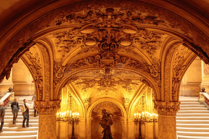 Paris, France, March 31 2017: Interior view of the Opera National de Paris Garnier, France. It was built from 1861 to stock photo