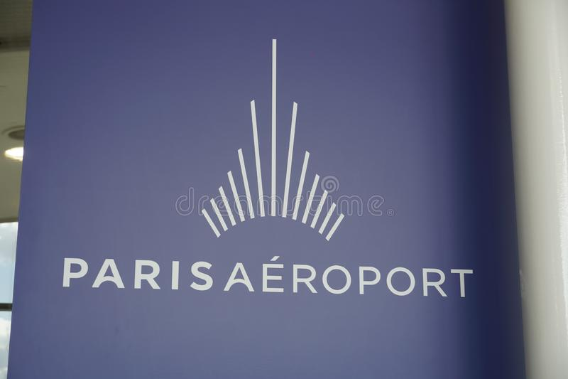Paris Airports emblem. Paris, France - March 19, 2019: Logo of Paris Aéroport Paris Airports, the airport authority that owns and manages the fourteen civil royalty free stock image