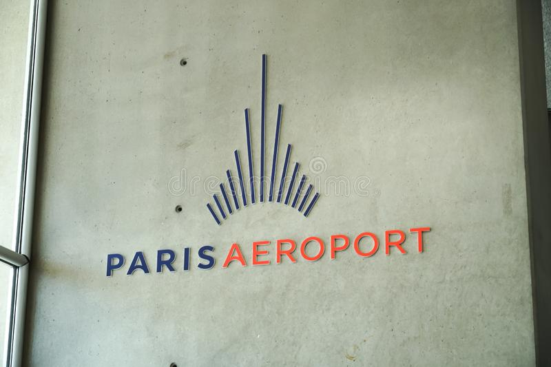 Paris Airports emblem. Paris, France - March 19, 2019: Logo of Paris Aéroport Paris Airports, the airport authority that owns and manages the fourteen civil royalty free stock photo