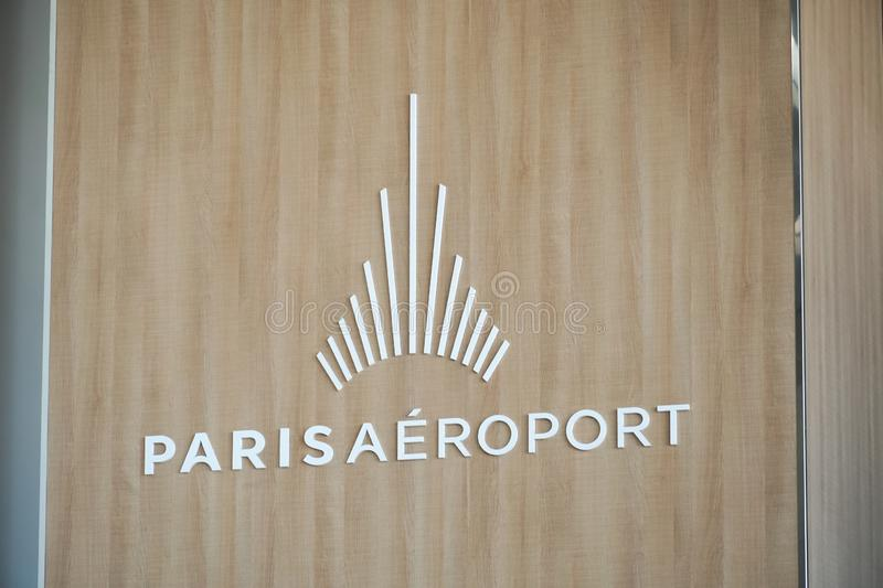 Paris Airports emblem. Paris, France - March 19, 2019: Logo of Paris Aéroport Paris Airports, the airport authority that owns and manages the fourteen civil stock photography