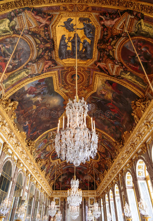 Paris, France, March 28 2017: Mirror`s hall of Versailles Chateau. France stock photos