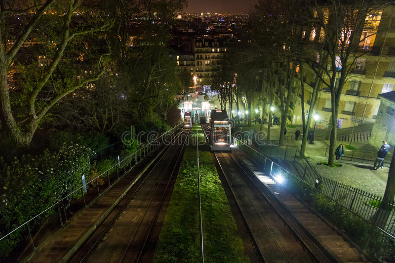 Paris, France, March 28 2017: Montmartre Funicular night royalty free stock photo