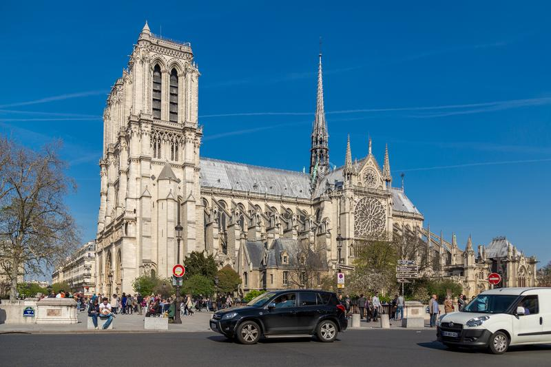Paris, France, March 27 2017: Notre Dame Cathedral or Notre-Dame de Paris - a Catholic church in the center of Paris royalty free stock image