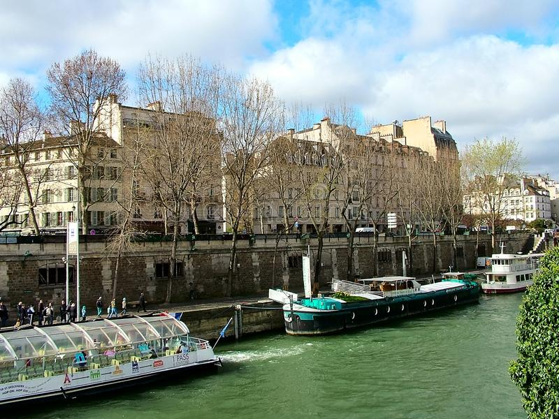 Seine embankment in Paris in France stock photography