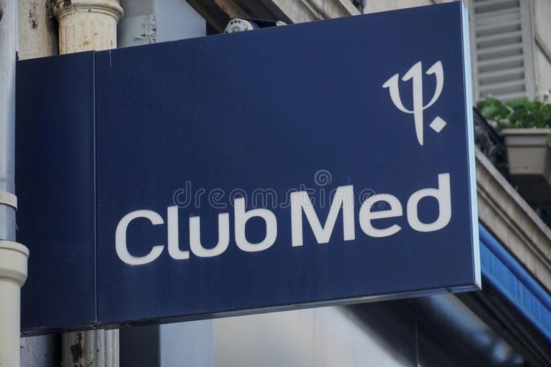 Club Med. Paris, France - March 16, 2019: Signage of Club Med, previously known as Club Méditerranée SA, is a French private company specializing in all stock photos