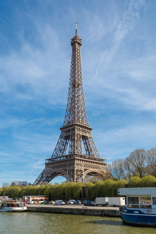 Paris, France, March 30, 2017: Tour Eiffel Eiffel Tower, river Seine at sunset. Eiffel Tower, named after engineer stock photography