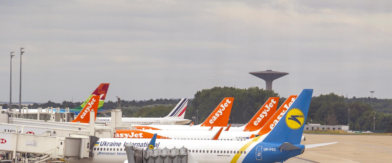 PARIS, FRANCE -1 March 2020- View of airplanes of easyjet airfrance ukraine at the Roissy Charles de Gaulle International Airport. PARIS, FRANCE -1 March 2020 stock image