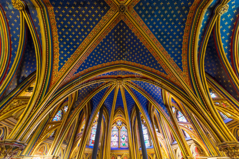 PARIS, FRANCE - May 8, 2016: Beautiful interior of the Sainte-Chapelle (Holy Chapel), a royal medieval Gothic chapel in Paris, Fr royalty free stock images