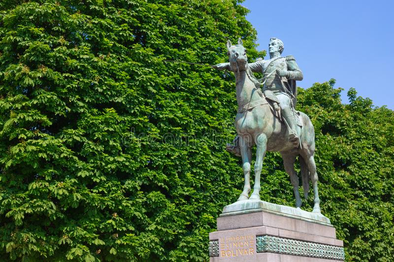 Statue of Simon Bolivar in Paris royalty free stock images
