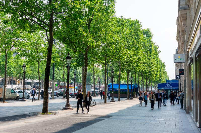 Paris, France - May 2019: Champs Elysees avenue in Paris royalty free stock photo