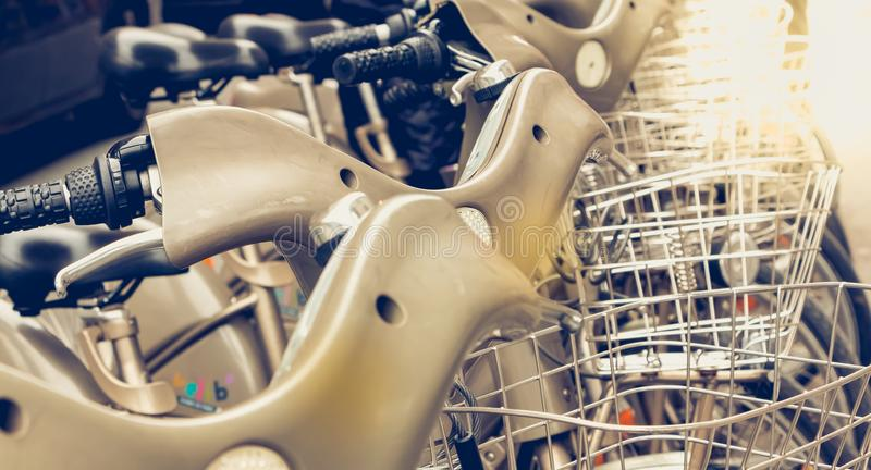Close up a row of Velib in Paris, a public bike rental stock images