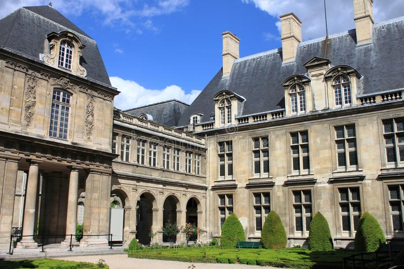 Courtyard of Carnavalet Museum in Paris stock photography
