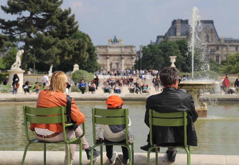 Parents and child in Paris, France royalty free stock photography