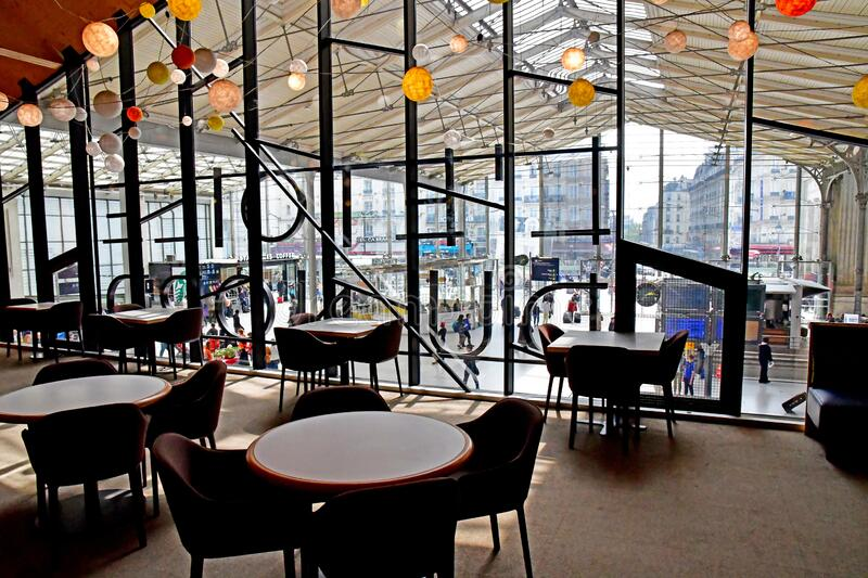 Paris; France - may 1 2019 : the Gare du Nord. Paris; France - may 1 2019 : L Etoile du Nord, the Thierry Marx restaurant in the Paris Nord station stock photos
