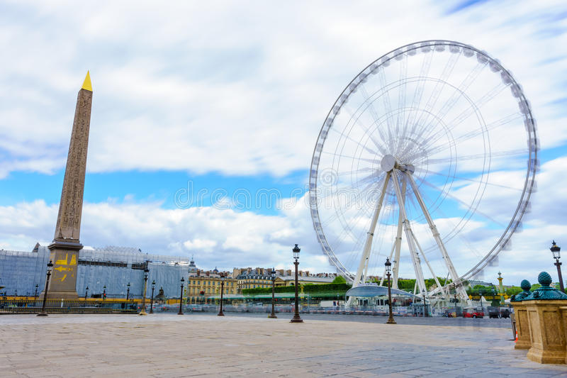 Paris, France - May 2, 2017: Long exposure view of The Big Wheel stock photography