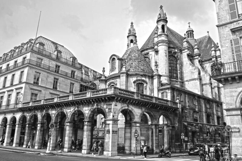 Old historical buildings in central part of Paris on the Rue de Rivoli. PARIS, FRANCE - MAY 25, 2019: Old historical buildings in central part of Paris on the royalty free stock image