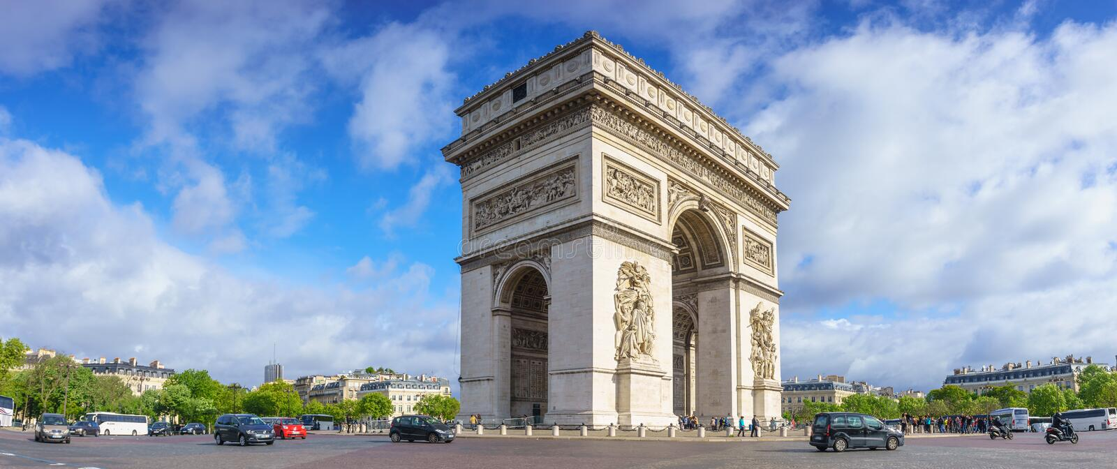 Paris, France - May 1, 2017: Panorama morning view of Arc de Tri royalty free stock photography