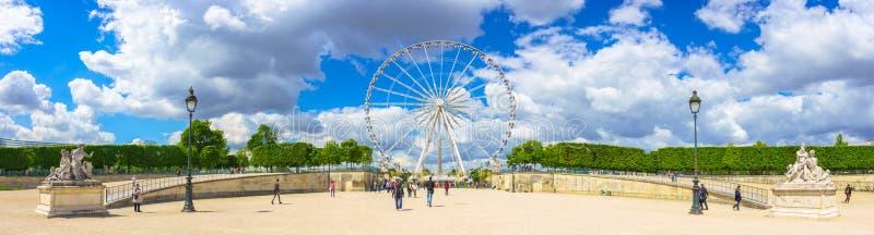 Paris, France - May 2, 2017: Panorama view of The Big Wheel at P stock photography