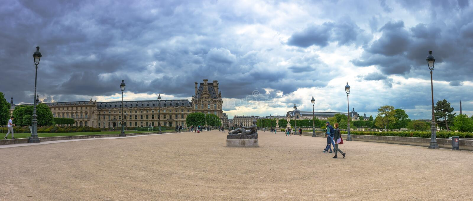 Paris, France - May 2, 2017: Panorama view of Monument to Cezanne statue in Tuileries Gardens with the Pavilion of Flore in stock image