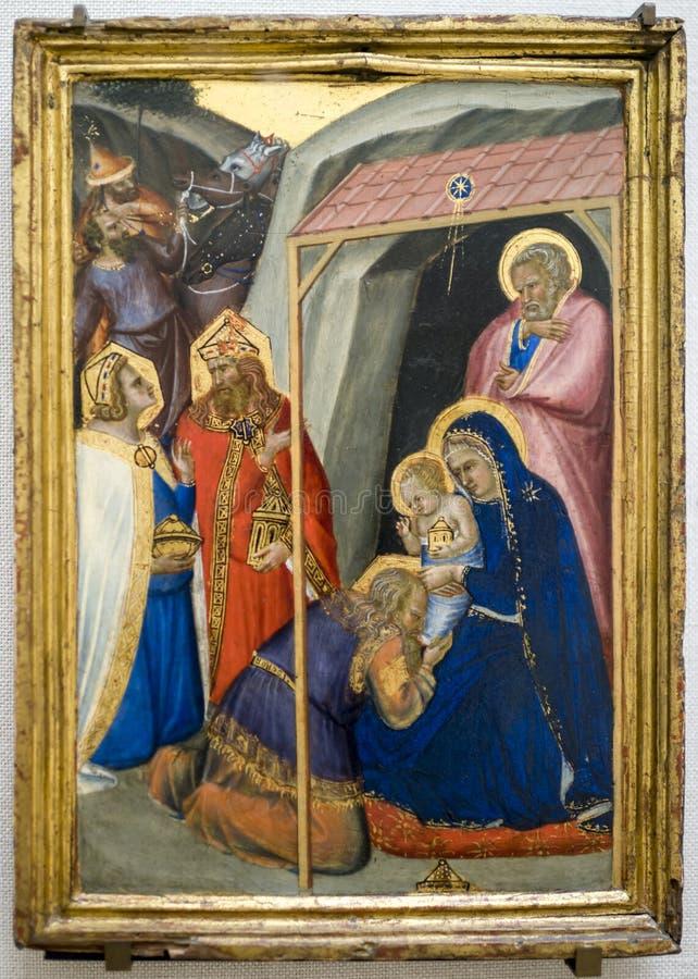 Pietro Lorenzetti.The Adoration of the Magi. Around 1335-1340. L stock image