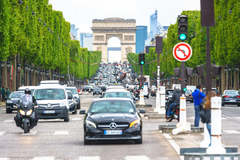 Paris, France - May 3, 2017: Road traffic conditions of Champs-Elysees Avenue views from Place de la Concord on May 3, 2017, in P royalty free stock images