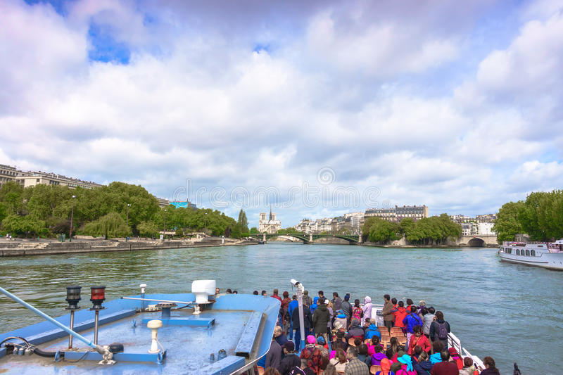 Paris, France - May 1, 2017: Tourists are cruising on the Seine stock photo