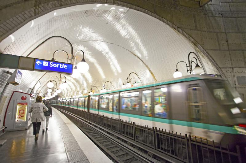 Paris Metro interior on SEPTEMBER 30, 2016. It is the second-busiest subway system in Europe, after Moscow. PARIS, FRANCE Paris Metro interior on SEPTEMBER 30 stock images