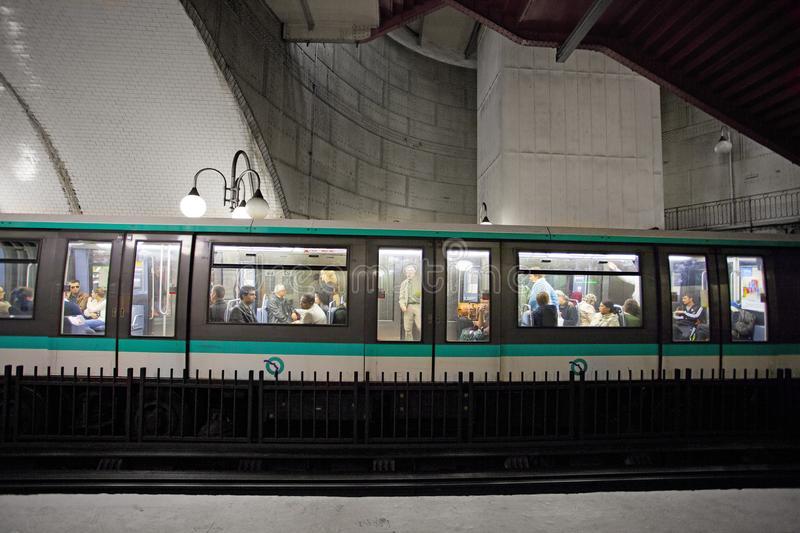 Paris Metro interior on SEPTEMBER 30, 2016. It is the second-busiest subway system in Europe, after Moscow. PARIS, FRANCE Paris Metro interior on SEPTEMBER 30 stock photography