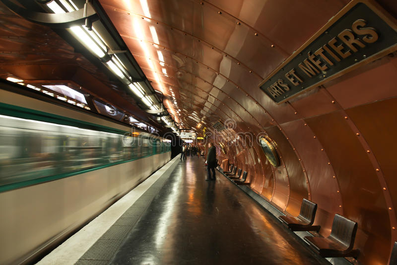 Paris France Metro Subway Station - Motion Blur stock photography