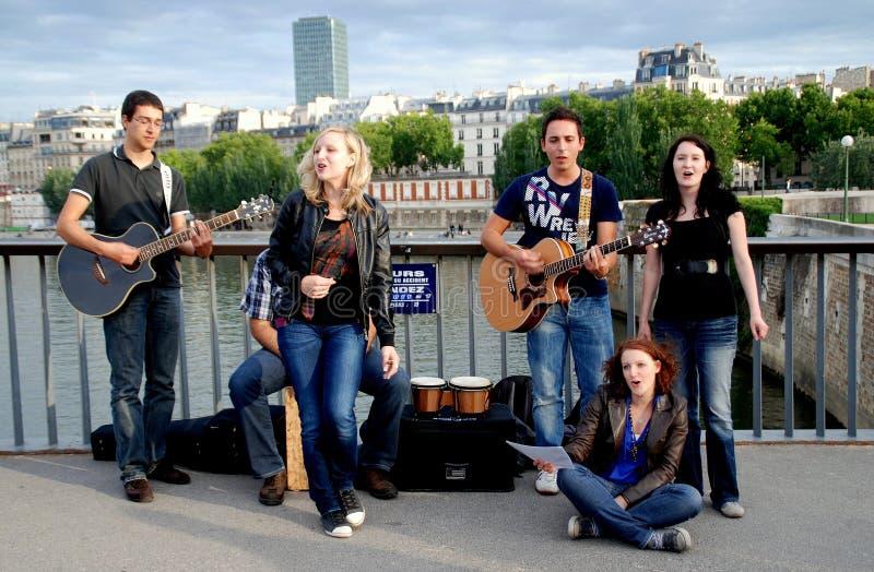 Paris, France: Musicians On Pont Des Arts Editorial Photography
