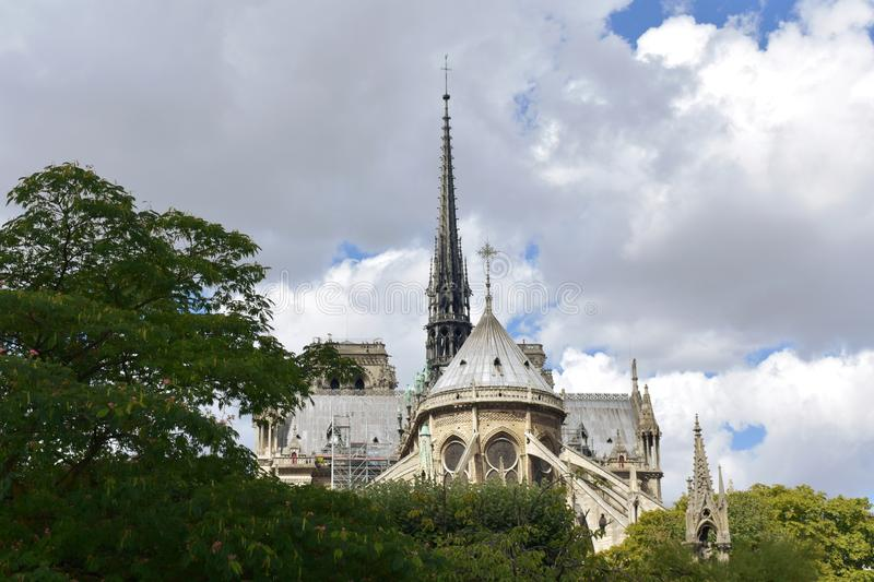 Notre Dame Spire, La Fleche, and wooden roofs before the fire. Paris, France. stock image