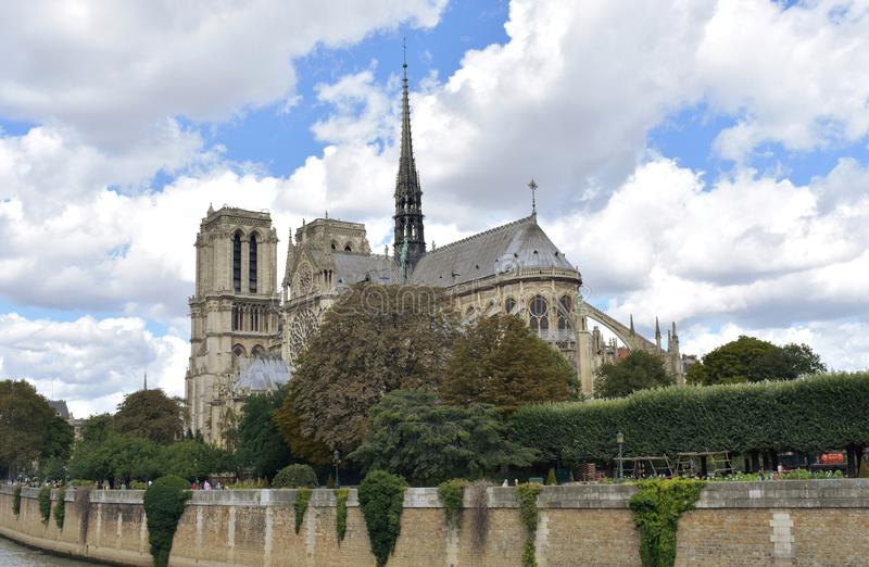 Notre Dame Spire, La Fleche, and wooden roofs before the fire. Paris, France. royalty free stock photo