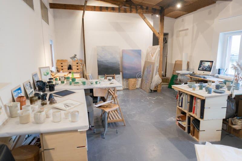 Paris, France  - Nov 1 2019: Art design creative studios ateliers open to public in Ivry-sur-Seine. Paris royalty free stock photography
