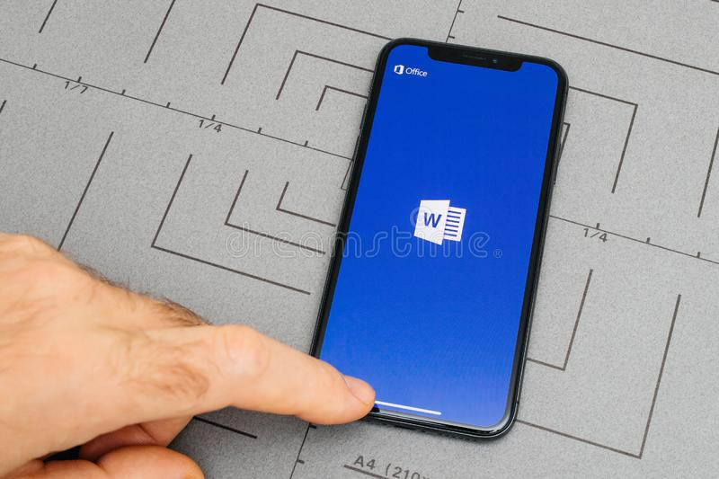 set up on iPhone X 10 app application software MIcrosoft Word stock images