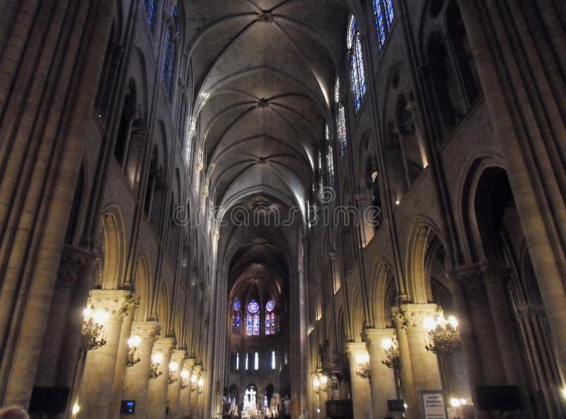 Paris - Central nave of the Cathedral of Notre Dame stock photo