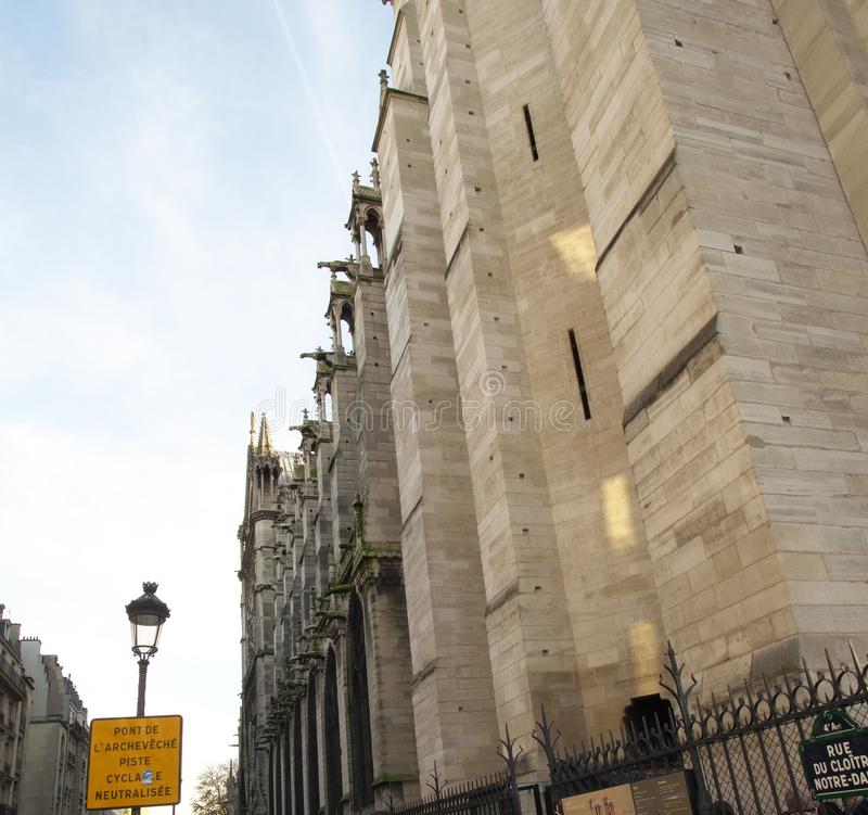 Gargoyles at the north west side of the Notre Dame Cathedral in Paris. Paris,France-November 23, 2016: Gargoyles at the north west side of the Notre Dame royalty free stock image