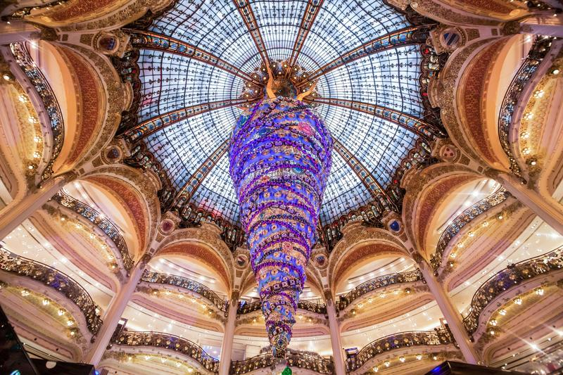 Paris France, November 2014: Holiday in France - Lafayette Galeries during winter Christmas stock photo