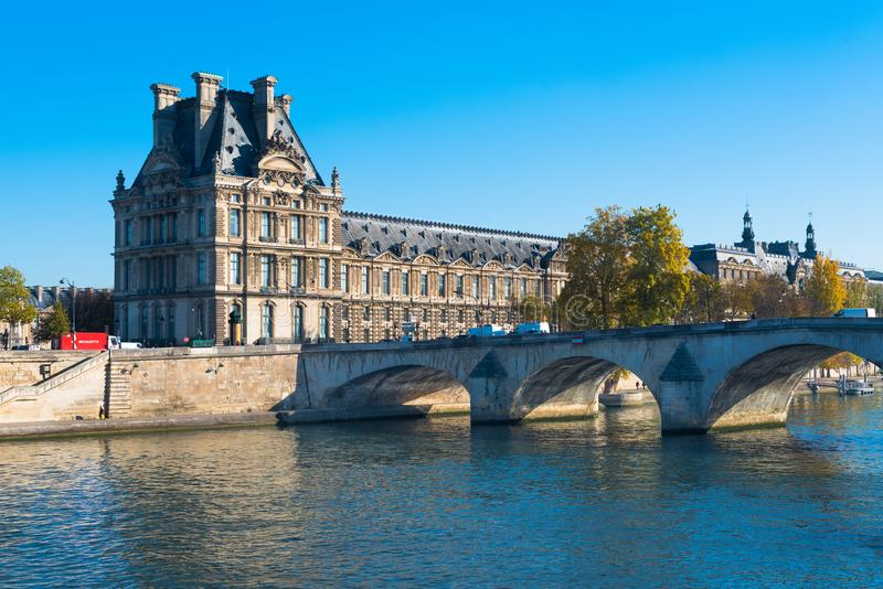 The Louvre seen from the Left Bank royalty free stock photos