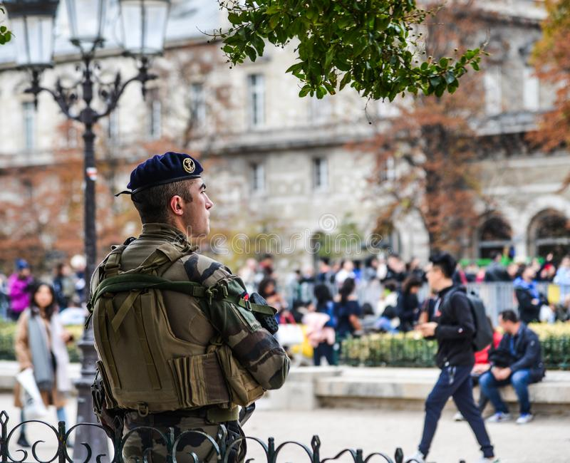 French soldiers on patrol in Paris, France stock photography